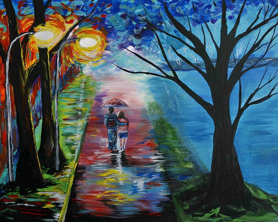 Couple In Love Painting - Lovely Stroll By The Lake by Leslie Allen