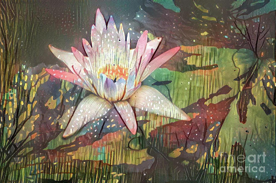 Aquatic Plant Digital Art - Lovely Waterlilies 2 by Amy Cicconi