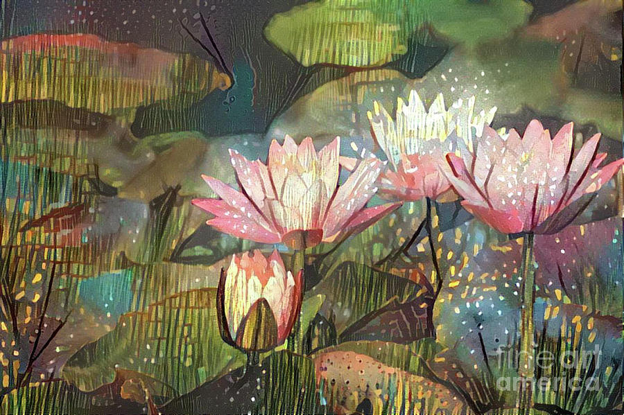 Aquatic Plant Digital Art - Lovely Waterlilies 7 by Amy Cicconi