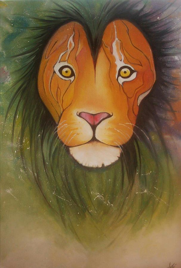 #lion #oilpainting #animal #colorful Painting - Lovelylion by Anne Sue