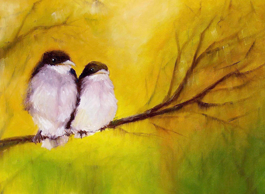 Bird Painting - Lovers by Anne Thouthip