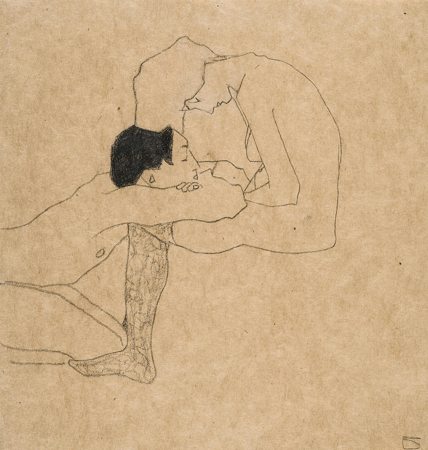 Lovers By Egon Schiele, Liebende, Pair, Couple, Seated, Reclining, Drawing,  Minimalist, Vintage