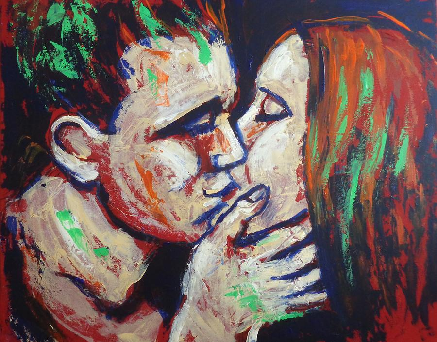 Colours Painting - Lovers - Colours And Kisses by Carmen Tyrrell