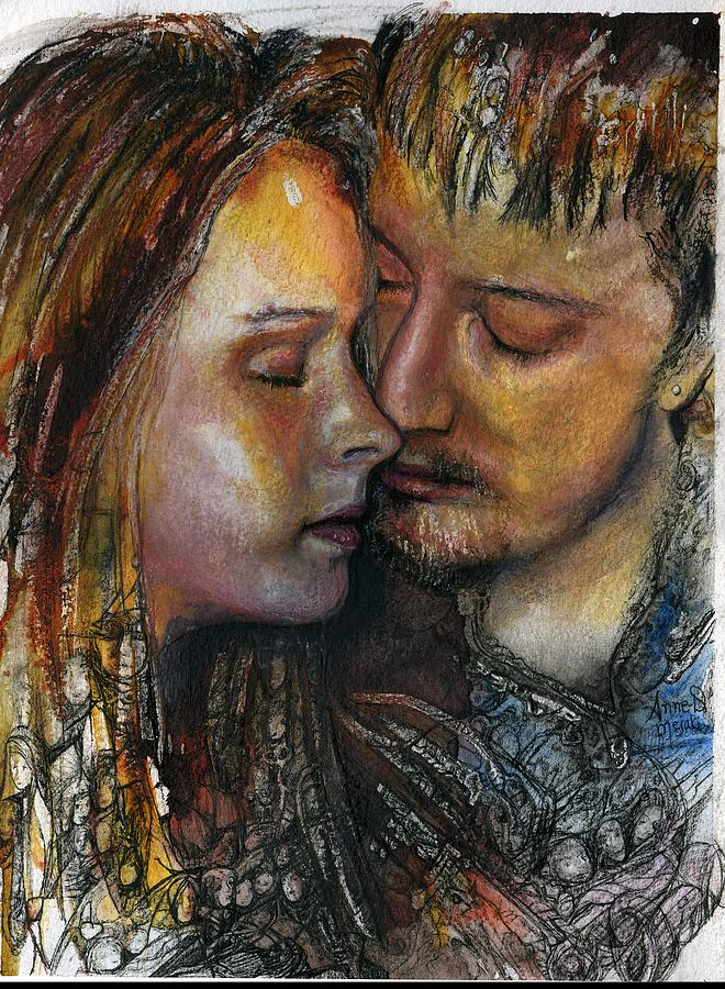 Portrait Painting - Lovers Hearst by Anne-D Mejaki - Art About You productions