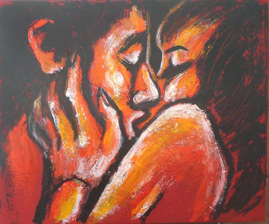 Lovers - Hot Lips Painting by Carmen Tyrrell