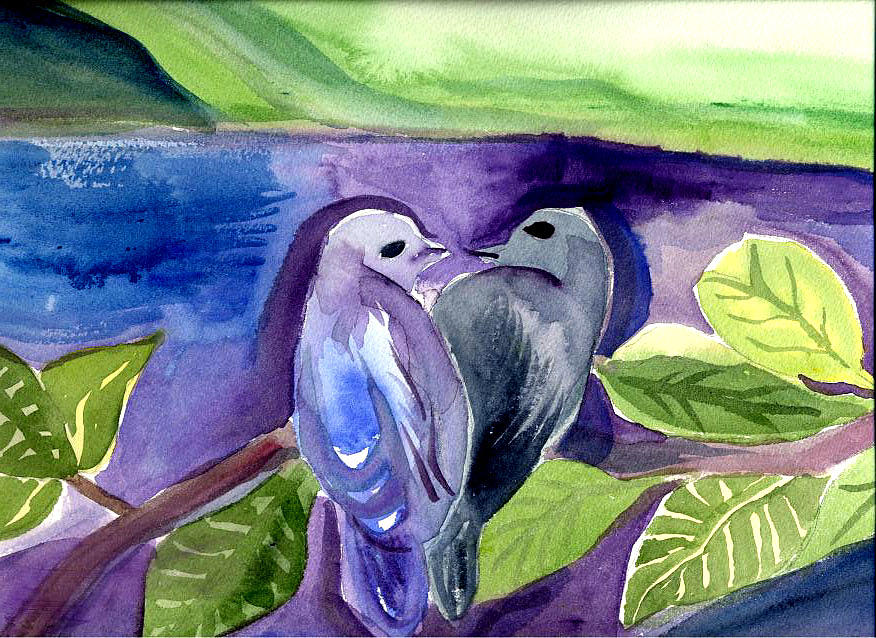 Birds Painting - Lovers by Janet Doggett