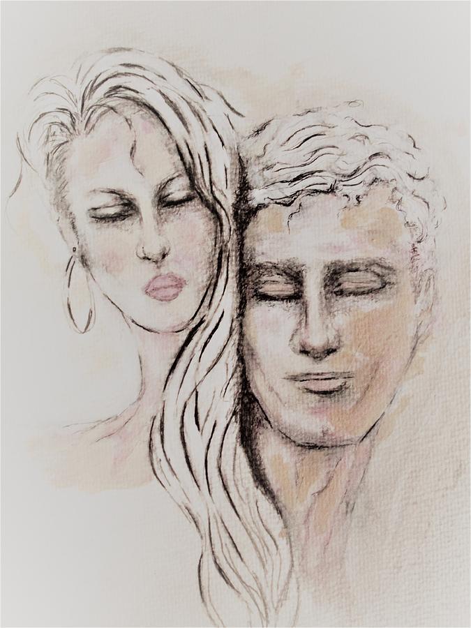 Unique Painting - Lovers by Liz Lafalce