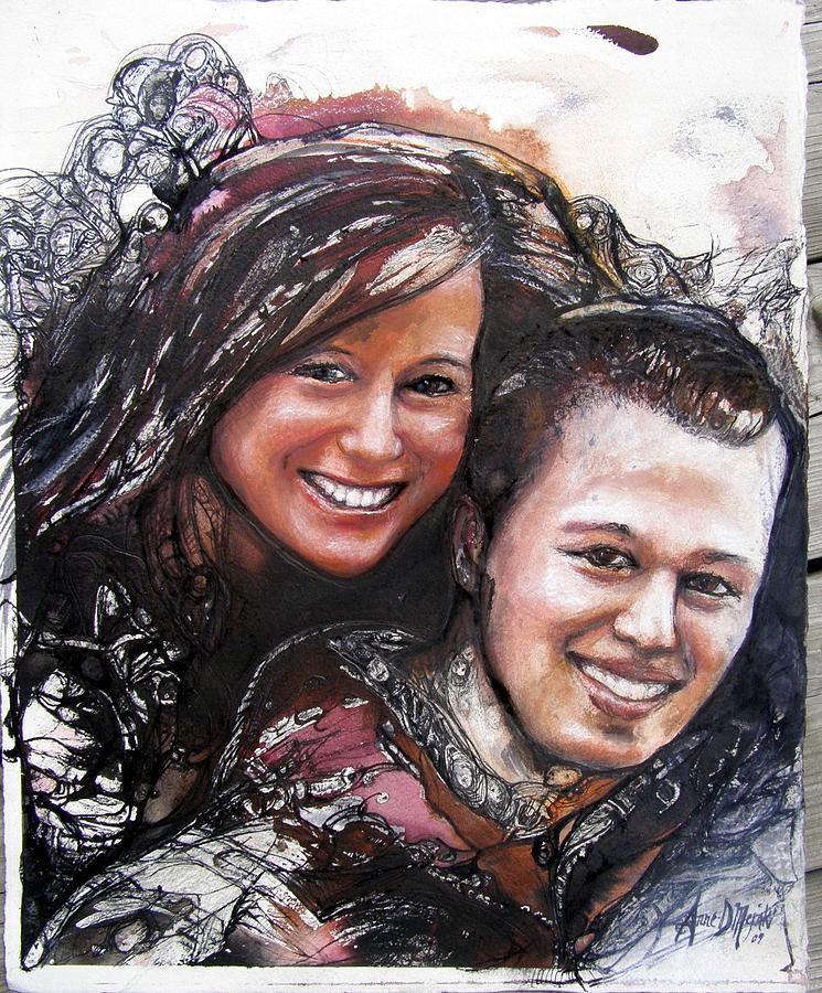 Lovers Painting - Lovers North Bay by Anne-D Mejaki - Art About You productions
