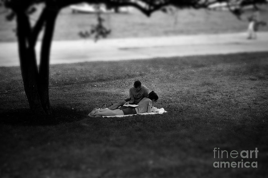 Lovers Reading By The Lake Photograph