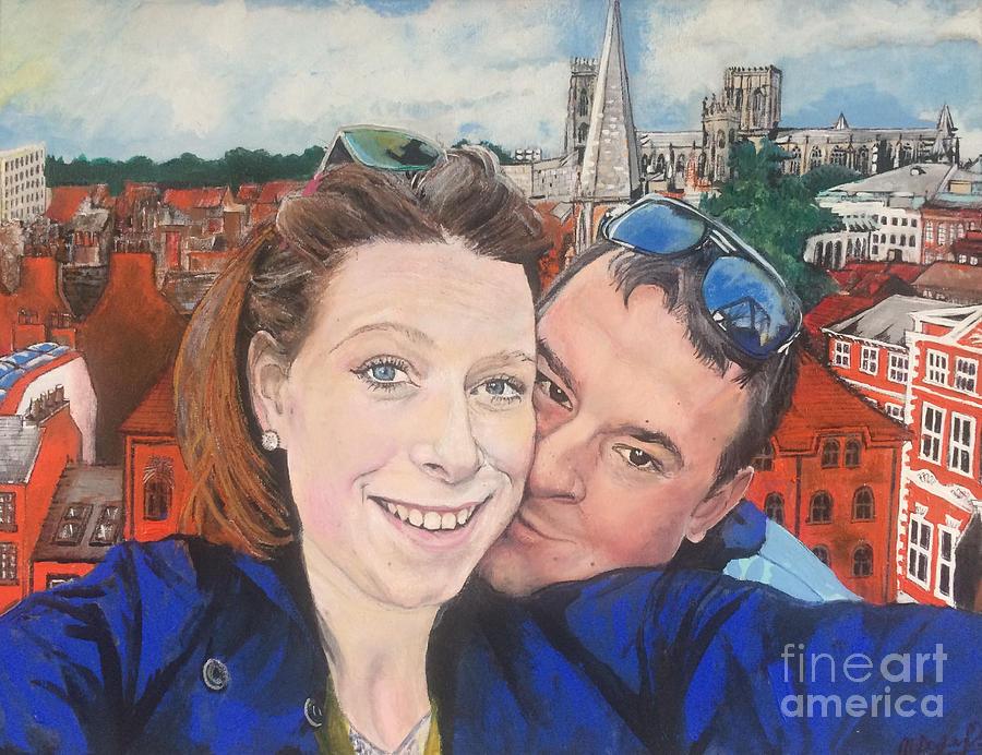 Lovers Painting - Lovers Selfie In York, England by Michelle Deyna-Hayward