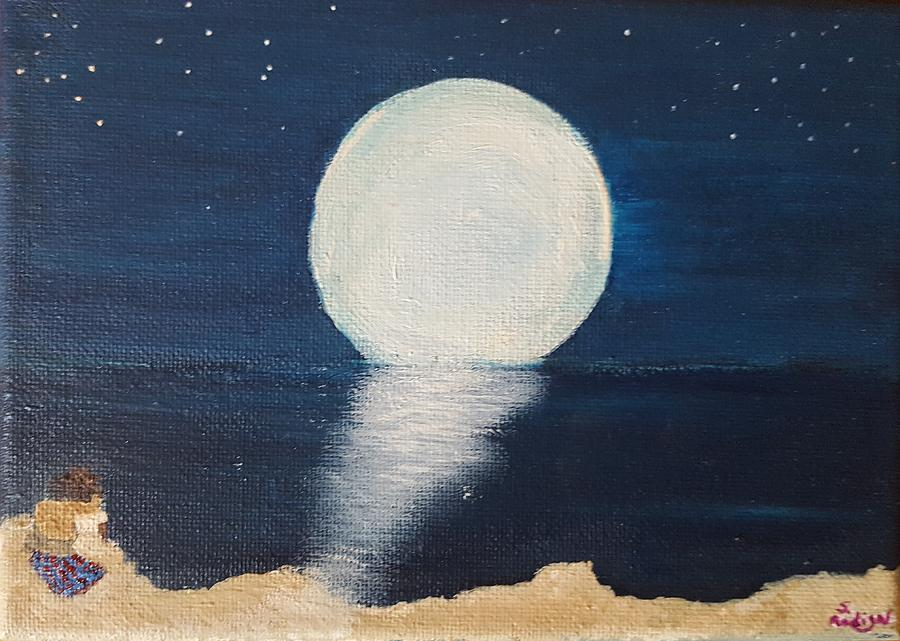 Full Moon Painting - Lovers by Susan Madison