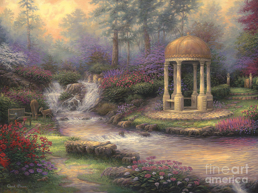 Garden Of Prayer Painting - Loves Infinity Garden by Chuck Pinson