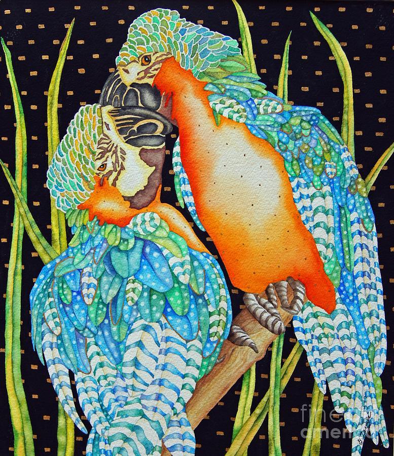 Birds Painting - Loving Birds by Gail Zavala
