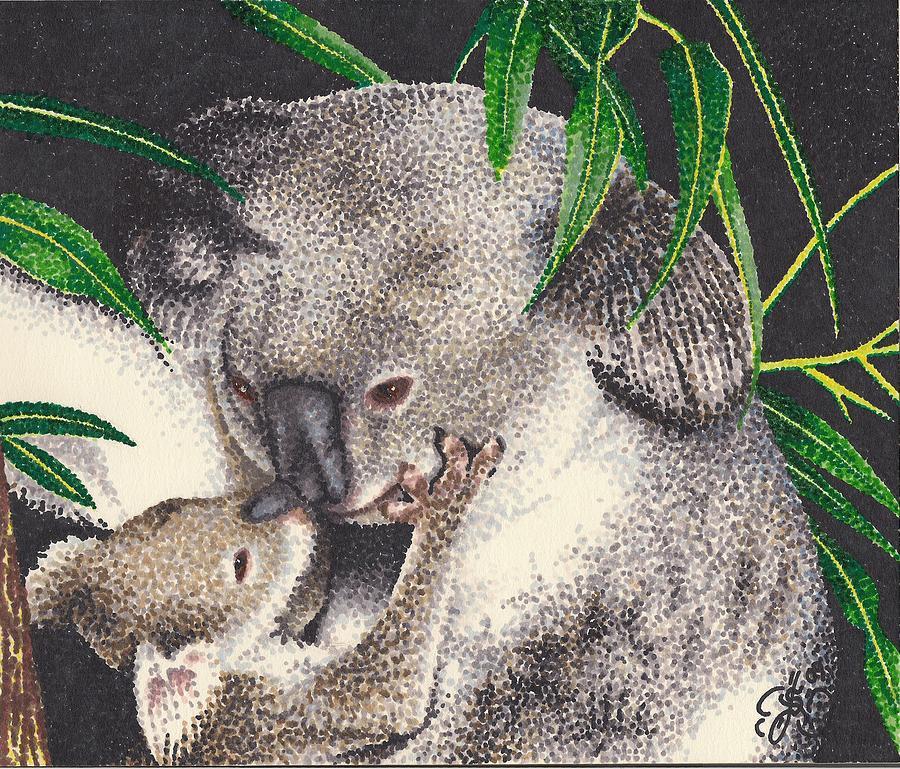 Koala Bears Drawing - Loving Kiss by Scarlett Royal