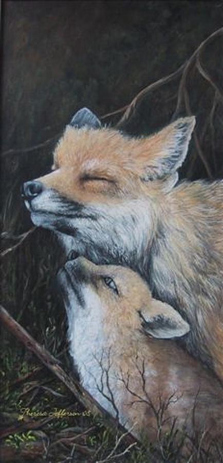 Fox Painting - Loving Mom by Theresa Jefferson