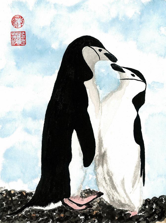 Birds Painting - Loving Penguins by Terri Harris