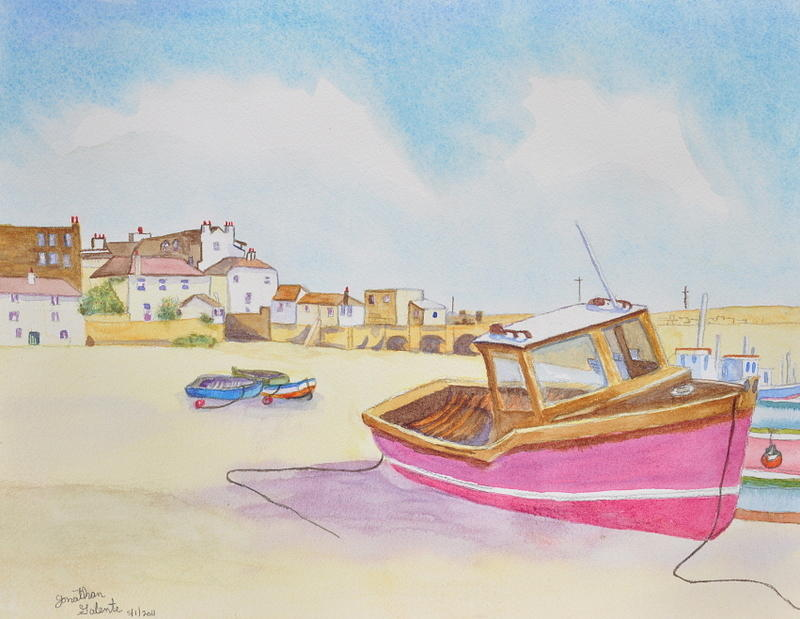 Boat Painting - Low Tide Boat On The Beach by Jonathan Galente