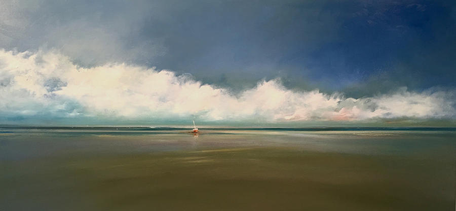 Seascape Boat Water Cape Cod Painting - Low Tide  by Michael Marrinan