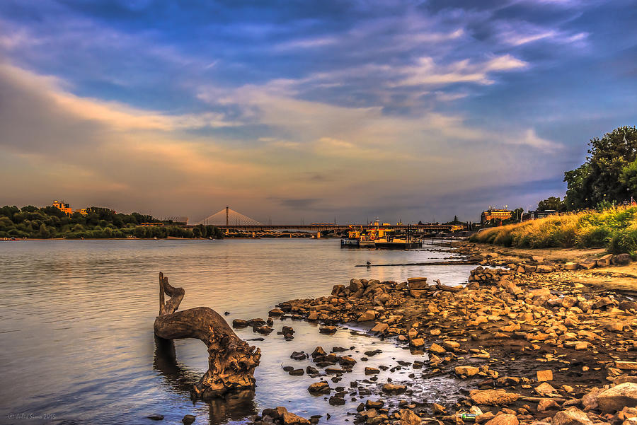 Low Water Vistula Riverscape In Warsaw Photograph