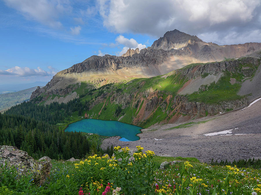 Blue Lakes Photograph - Lower Blue Lake And Mt. Sneffels by Aaron Spong