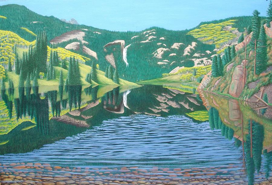 Lower Cataract Lake And Cataract Creek Falls Painting by Philipp Merillat