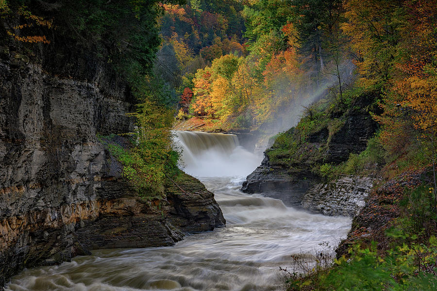 Autumn Photograph - Lower Falls Of The Genesee River by Rick Berk