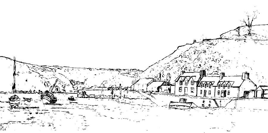 Landscape Drawing - Lower Fishguard by Frank Hamilton