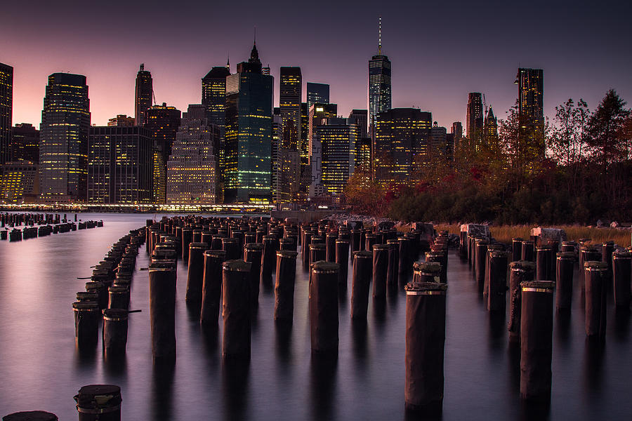 Nyc Photograph - Lower Manhattan At Night by Steve Booke