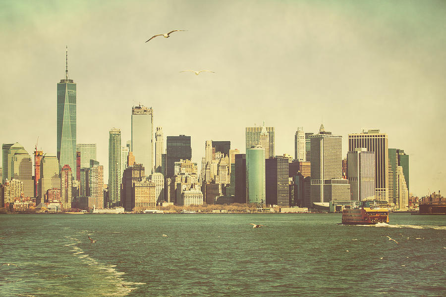 Lower Photograph - Lower Manhattan From The Ferry by Erin Cadigan