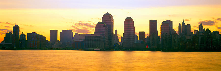 Color Image Photograph - Lower Manhattan Skyline At Sunrise by Panoramic Images
