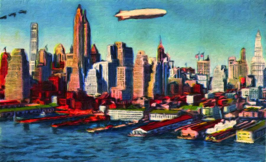 Lower Manhattan Painting - Lower Manhattan Skyline New York City by Vincent Monozlay