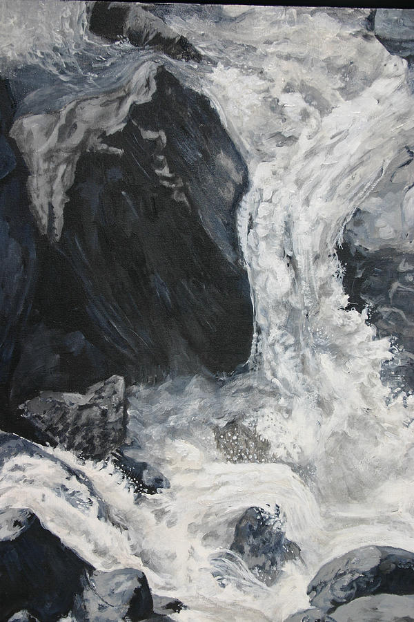 Water Painting - Lower Vernal Black and White  by Travis Day