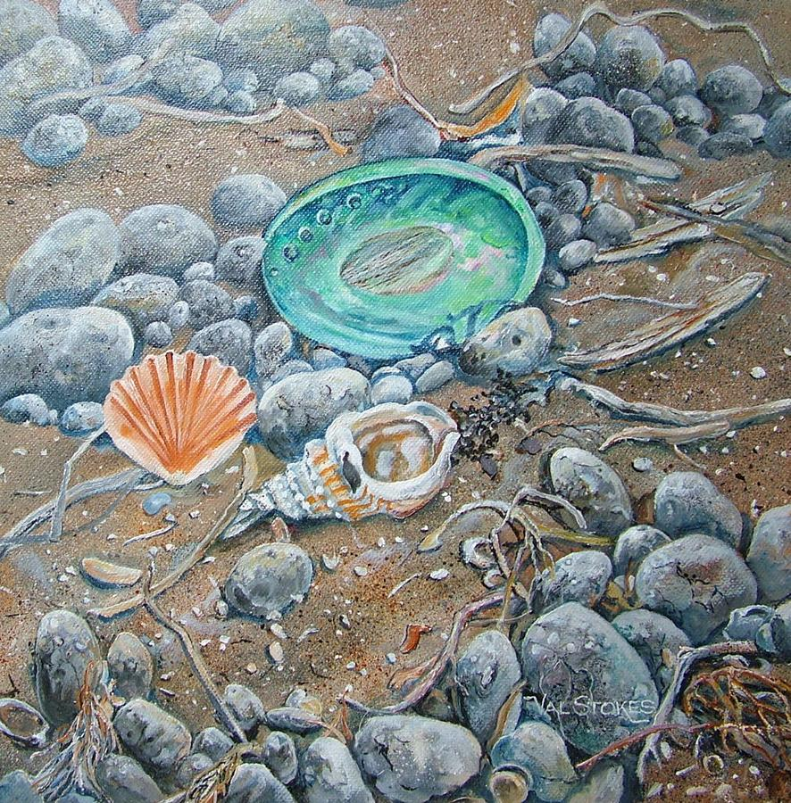 Shells Painting - Lowtide Treasures by Val Stokes