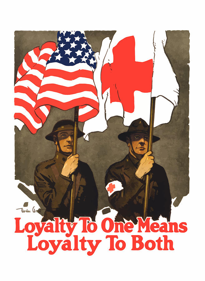 Red Cross Painting - Loyalty To One Means Loyalty To Both by War Is Hell Store