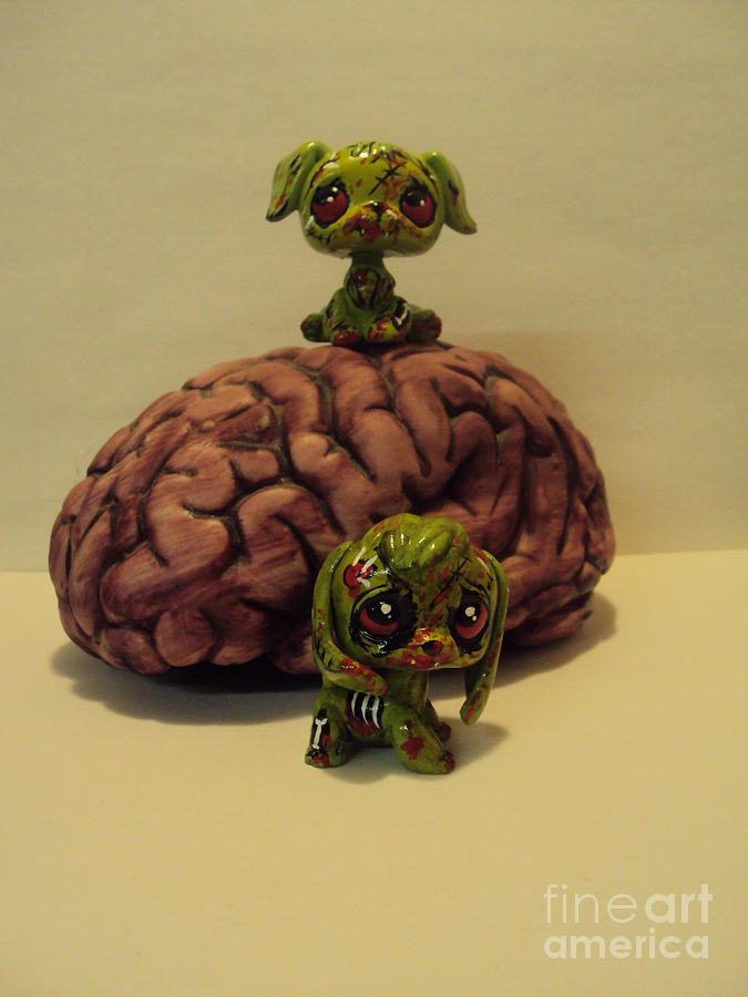 lps custom zombie pups mixed media by kelly gannon