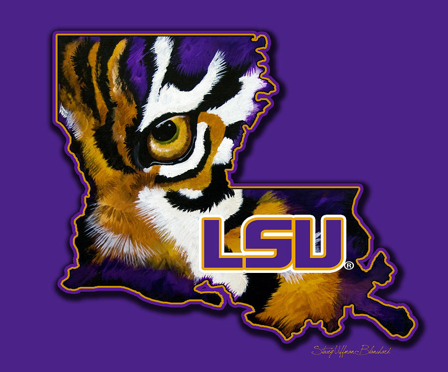 Lsu Louisiana Tiger Eye Painting by Stacey Blanchard