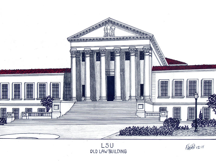 Historic Buildings Images Drawing - Lsu Old Law Building by Frederic Kohli