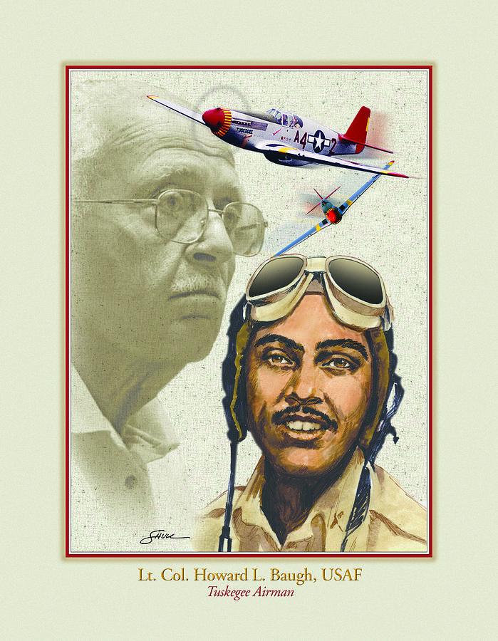Portrait Mixed Media - Lt. Howard L. Baugh Usaf by Harold Shull
