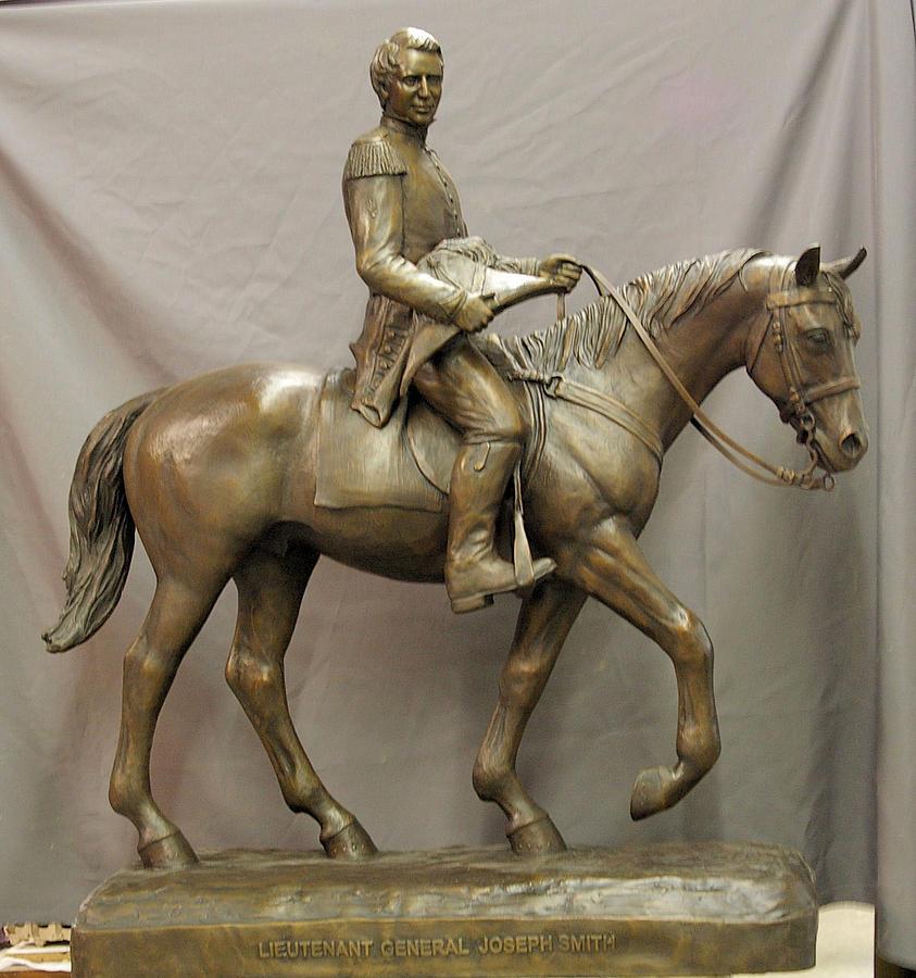 Bronze Sculpture - Lt.general Joseph Smith Jr.nauvoo Legion Sculpture Bronze Statue By Stan Watts And Kim Corpany by Stan Watts and Kim Corpany