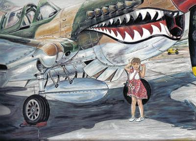 Airplane Drawing - Lttle Girl And The Tiger by James Beal