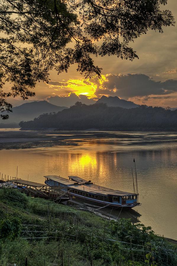 Laos Photograph - Luang Prabang Sunset by Jon  Sheer