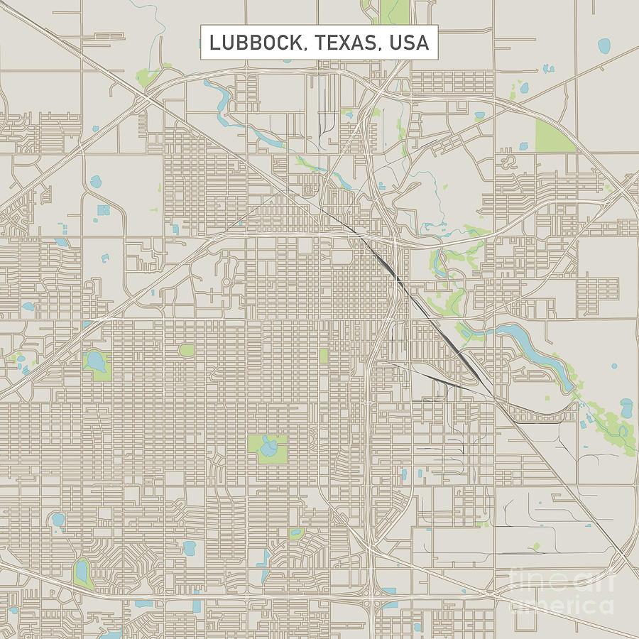 Lubbock Texas Us City Street Map Digital Art By Frank Ramspott