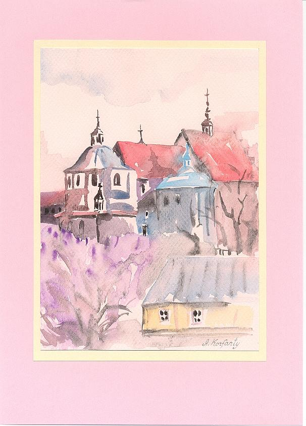 Watercolor Painting - Lublin - A Monastery Of Dominican by Agnieszka Korfanty