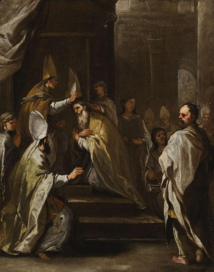Nature Painting - Luca Giordano Naples 1634 - 1705 The Consecration Of Saint Gregorio Armeno by Luca Giordano NAPLES