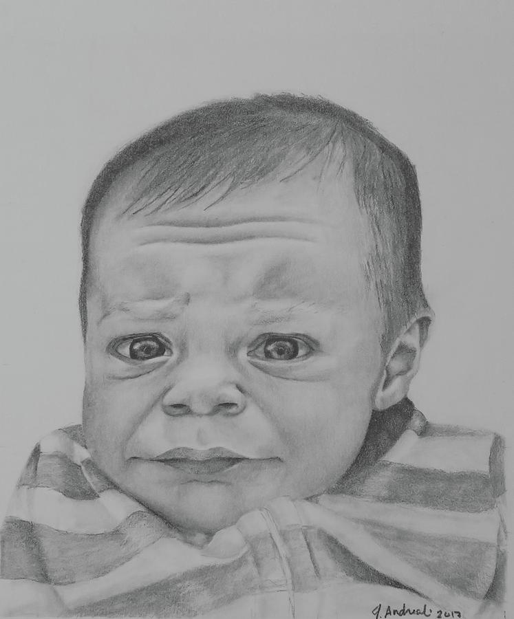 Baby Boy Drawing - Lucas by Jenny Andreoli