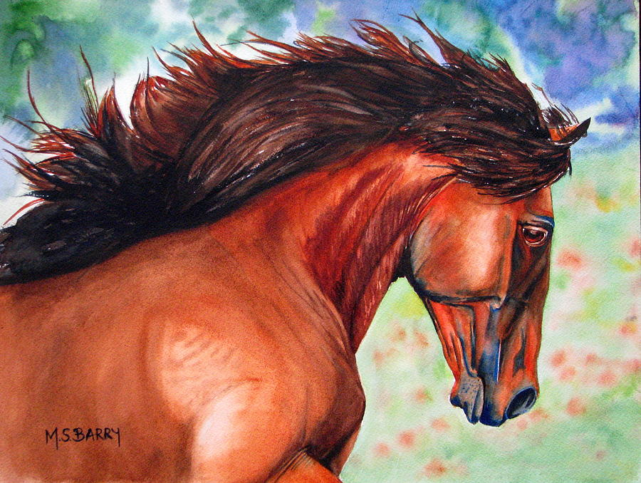 Horse Painting - Lucitano by Maria Barry