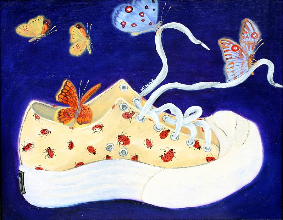 Running Shoes Painting - Lucky Lady Bug Shoe by Minaz Jantz