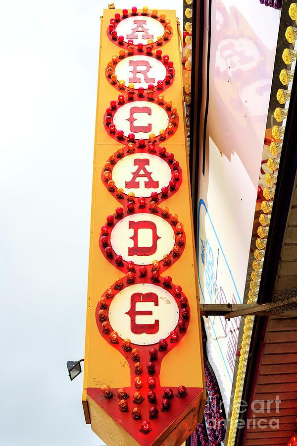 Arcade Photograph - Lucky Leos Arcade Sign Seaside Heights by John Rizzuto