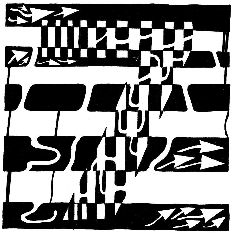 Lucky Drawing - Lucky Maze Number 7 by Yonatan Frimer Maze Artist