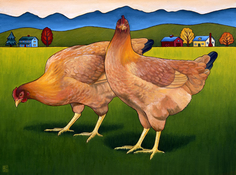 Chicken Painting - Lucy And Ethel by Stacey Neumiller